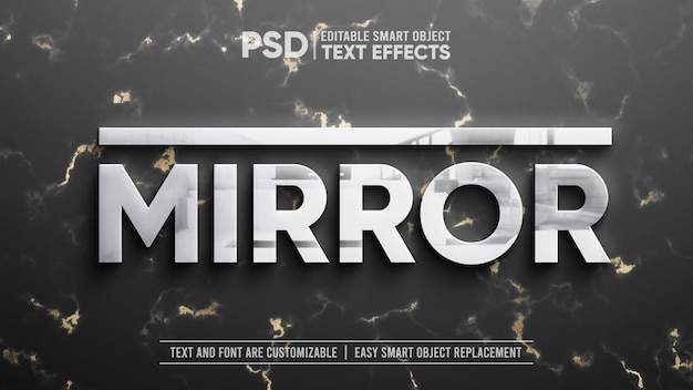 Clean silver with reflection on gold marble editable text effect mockup