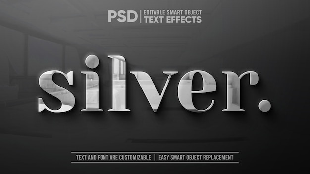 Clean silver with reflection on granite editable text effect mockup