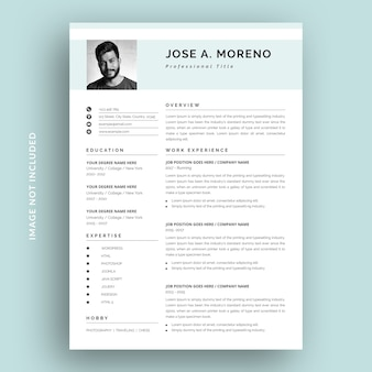 Clean and simple resume cv template design