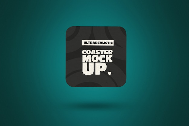 Clean square coaster mockup