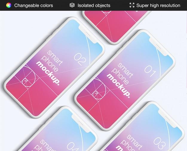 きれいな上面ビューのスマートフォンアプリ画面のモックアップテンプレート
