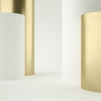 Clean white gold product pedestal , gold frame, memorial board, abstract minimal concept, blank space, clean design, luxury . 3d render