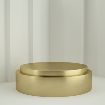 Clean white gold product pedestal, gold frame, memorial board, abstract minimal concept, blank space, clean design, luxury. 3d rendering