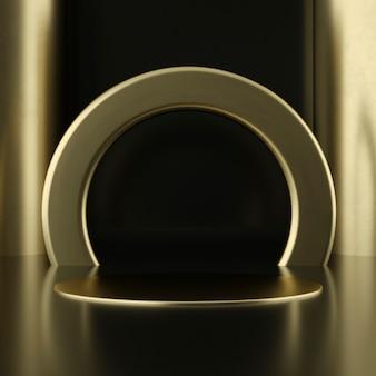 깨끗 한 화이트 골드 제품 받침대, 골드 프레임, 기념 보드, 추상 최소한의 개념, 빈 공간, 깨끗 한 디자인, 럭셔리. 3d 렌더링