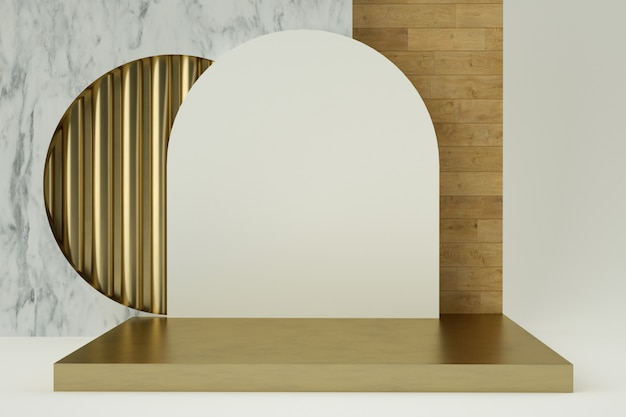 Clean white gold product pedestal, gold frame, memorial board, abstract minimal concept