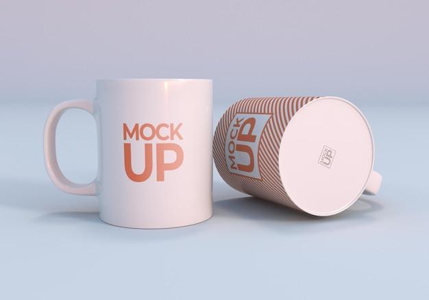 きれいな白いマグカップのデザインのモックアップデザイン