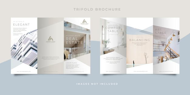 Clean white real estate trifold brochure