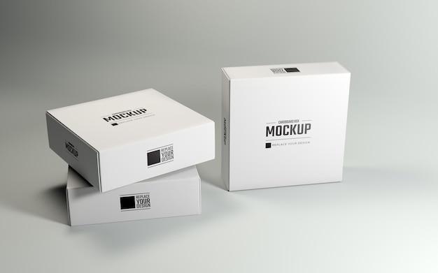 Clean white square cardboard boxes mockup