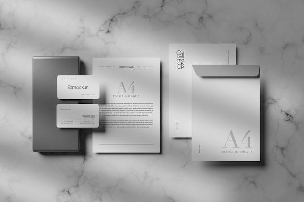 きれいな白い静止モックアップデザイン