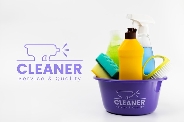 Cleaner service and quality products in a bucket
