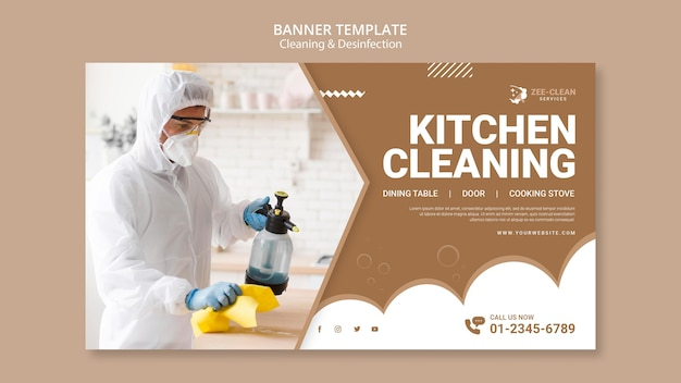Cleaning and disinfection banner template