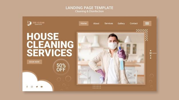 Modello di landing page di pulizia e disinfezione