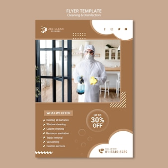 Cleaning and disinfection service flyer template