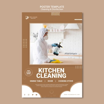 Cleaning and disinfection service poster template