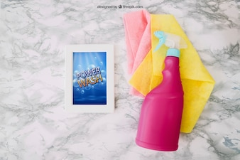 Cleaning mockup with spray bottle