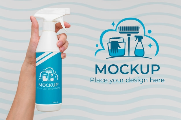 Cleaning product with mock-up packaging