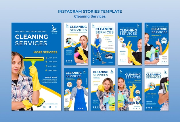 Cleaning service concept instagram stories template