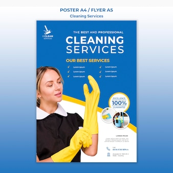 Cleaning service concept poster template