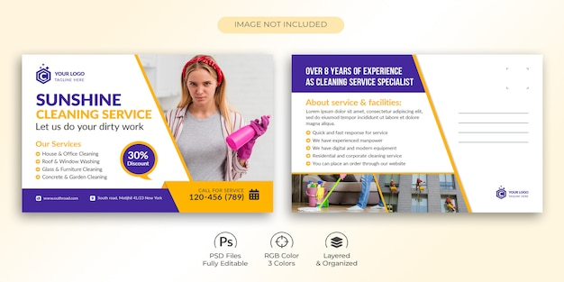 Cleaning service postcard template