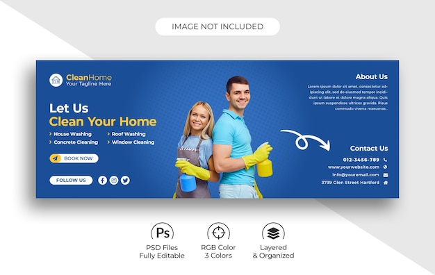 Cleaning service social media facebook cover template