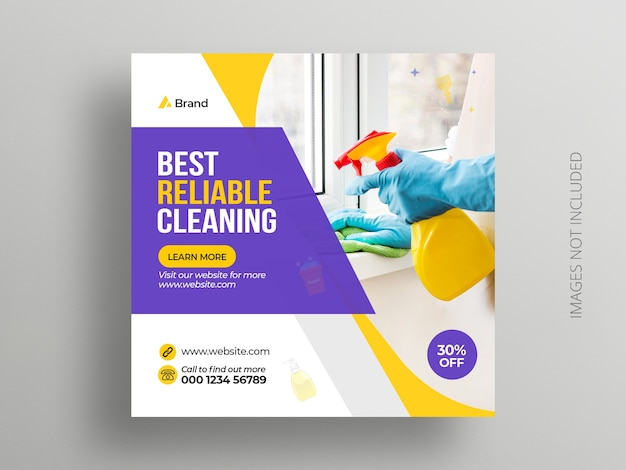 Cleaning service social media instagram post banner template