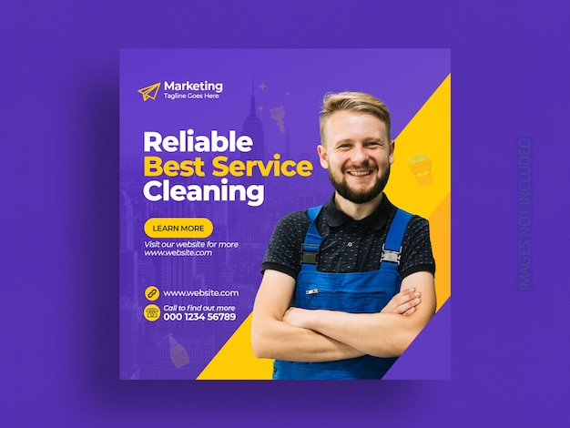Cleaning service social media post banner template
