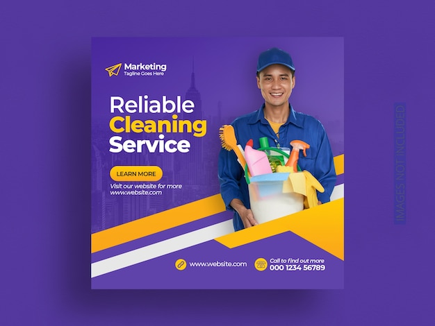 Cleaning service social media post and web banner template