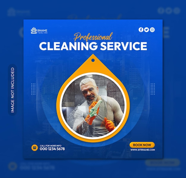 Cleaning service square flyer or instagram social media post template