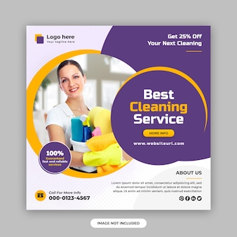 Cleaning service square social media post and web banner design template