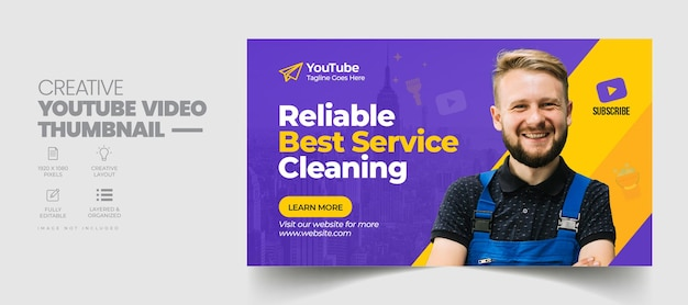 Cleaning service youtube video thumbnail and web banner template