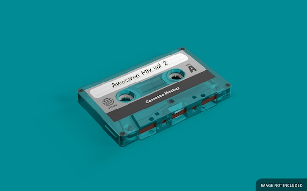 Clear audio cassette mockup with label