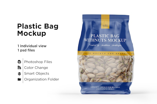 Clear bag with pistachio nuts mockup