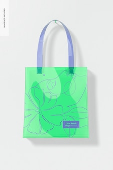 Clear beach bag mockup, hanging