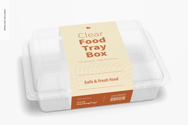 Clear food tray box mockup, front view