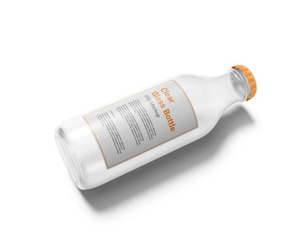 Макет прозрачной стеклянной бутылки