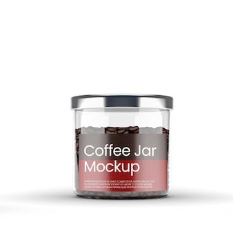 コーヒーモックアップ付きの透明なガラス瓶
