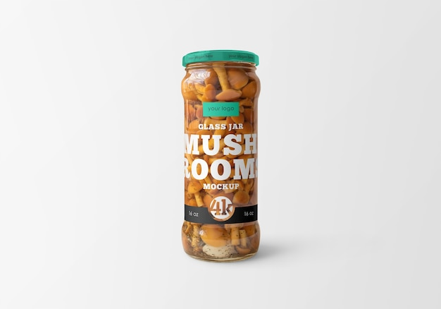 Clear glass jar with marinated mushrooms mockup