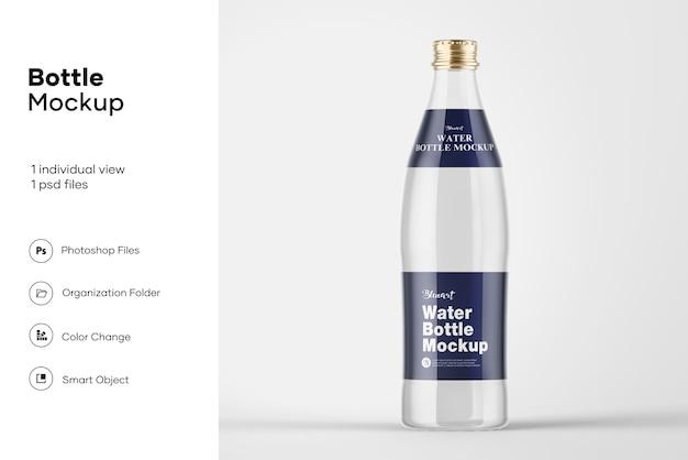 Мокап прозрачной стеклянной бутылки с водой