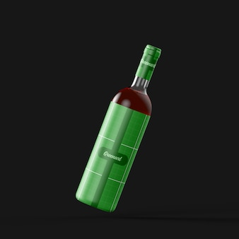Clear glass wine bottle mockup