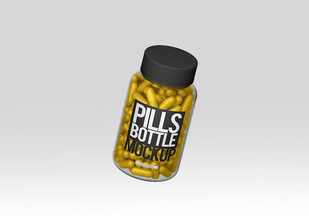 Прозрачный макет бутылки таблеток