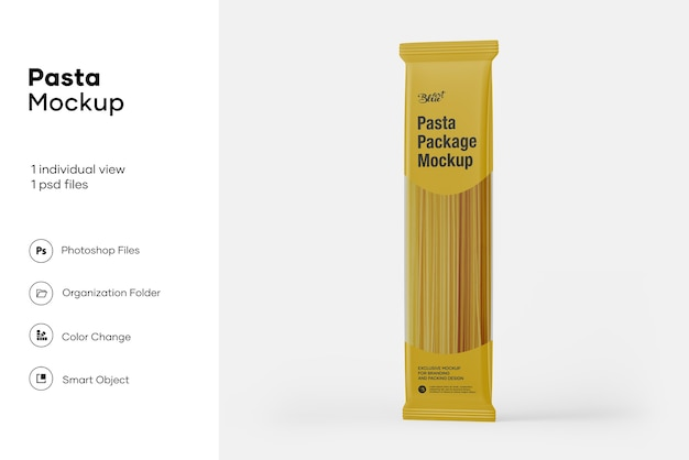 Clear plastic spaghetti packaging mockup