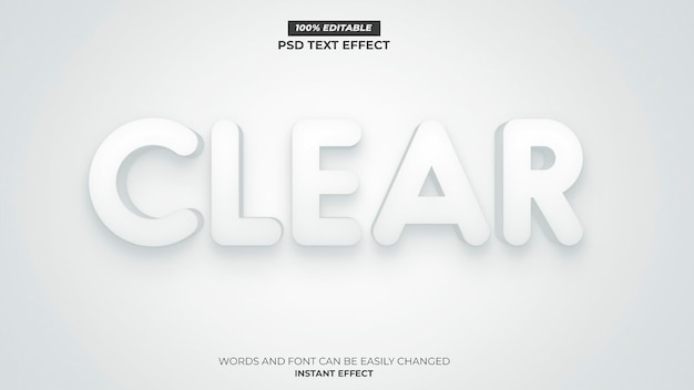 Clear white text effect