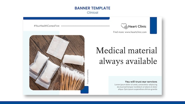 Modello di banner clinico con foto