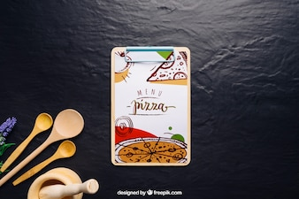 Clip board mockup with pizza design