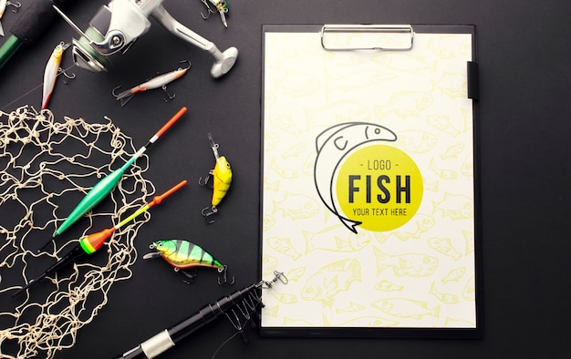 Clipboard mock-up and fishing accessories