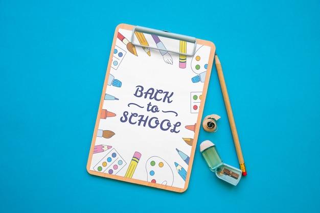 クリップボード、モックアップ、バック、学校、コンセプト