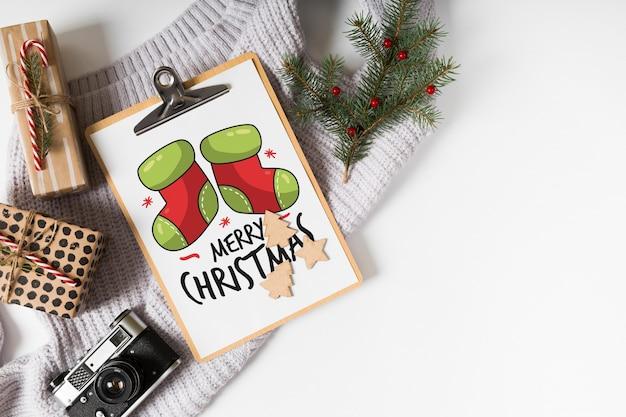 クリップボード、モックアップ、クリスマス、組成