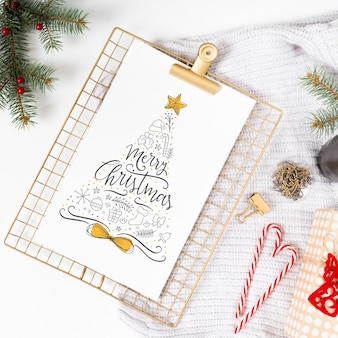 Clipboard mockup with christmas composition
