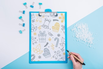 Clipboard mockup with christmas concept