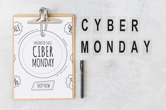 Clipboard mockup with cyber monday letters
